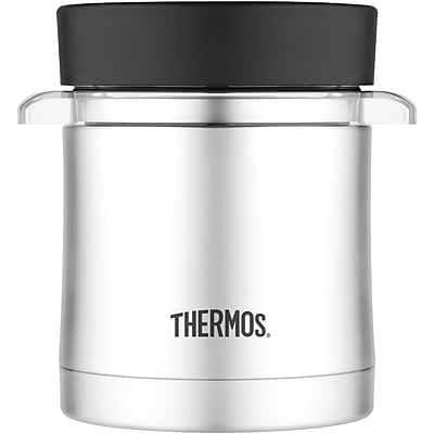 Thermos Stainless Steel Microwavable Food Jar With Stainless Steel Vacuum Insulated Sleeve, 16 Oz.