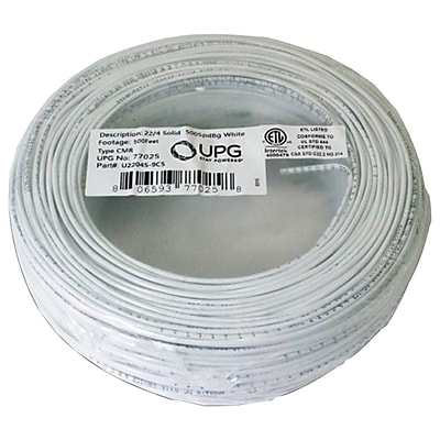 UPG 22-Gauge, 4-Conductor Alarm White Cable, 500ft Coil Pack (Solid)