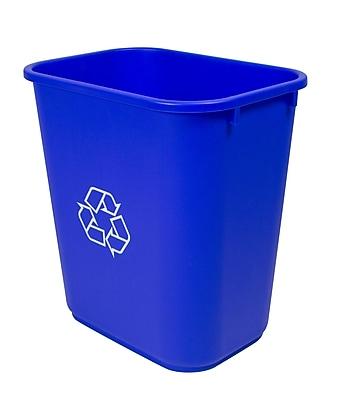 Storex Plastic Household Waste Basket, 7gal, Blue