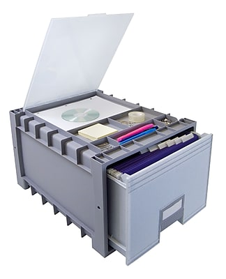 Storex Plastic Storage Drawer, Gray, 2/CT (STX61173B02C)