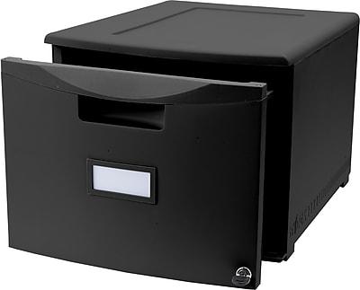 Storex Filing Cabinet Hanging-File Cabinet, Letter/Legal, Black, 2/CT (STX61260B02C)