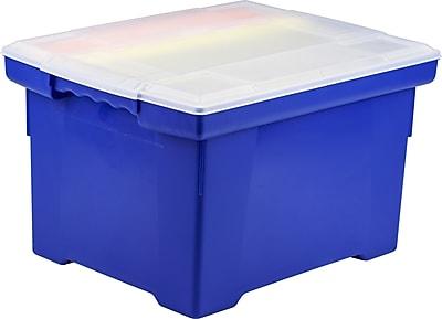 Storex Storage Bin File Tote, Blue (STX61554U01C)