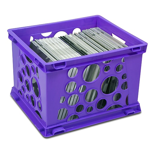 "Storex Mini Crate, 6""H x 7.75""L x 9""W, Neon Purple, 3/Set (STX61585U03C)"