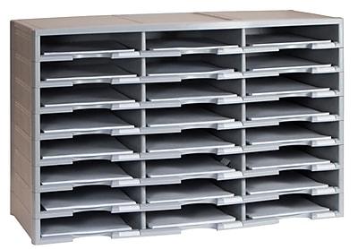 Storex Plastic Literature Organizer, 24 Compartment, Gray (STX61610U01C)