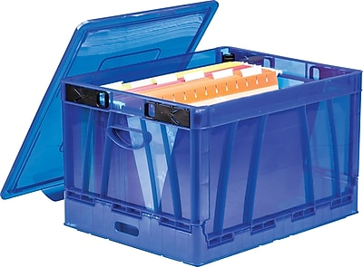 Storex Collapsible Crate with Lid, Letter/Legal Size, Blue, 2/Set (STX61801U02C)