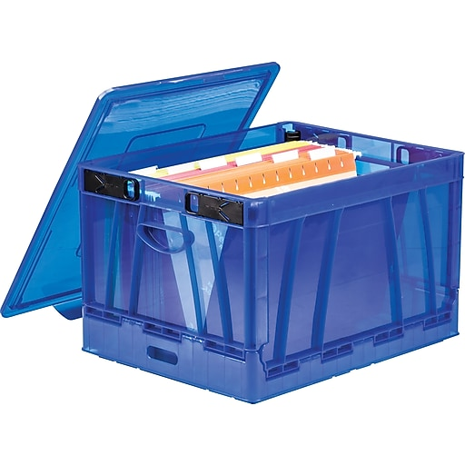 Storex Collapsible Crate with Lid, Letter/Legal Size, Blue, 4/Set (STX61804U02C)