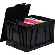 Storex Collapsible Crate with Lid, Letter/Legal Size, Black (STX61809U01C)