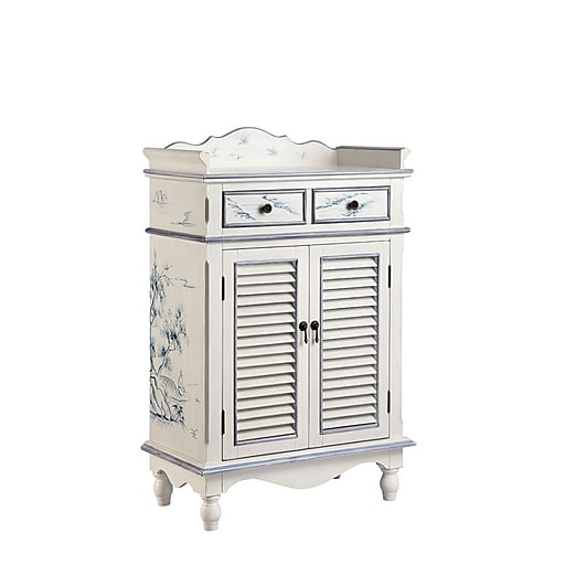 """Stein World Willow 45"""" Accent Cabinet, White with blue (13406)"""