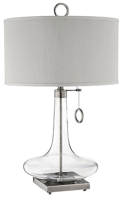 Stein World 100 Watt Eden Table Lamp, Clear Glass, Brushed Silver Sand Base (98819) 2076387