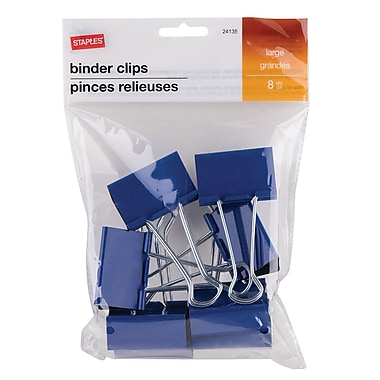 Staples® Large Binder Clips, 8/Pack