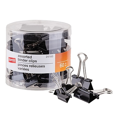 Staples® Binder Clips, Assorted Sizes, Black, 60/Pack