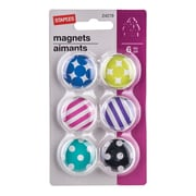 Staples® Magnets, Dome Shaped with Geometric Pattern, 6/Pack
