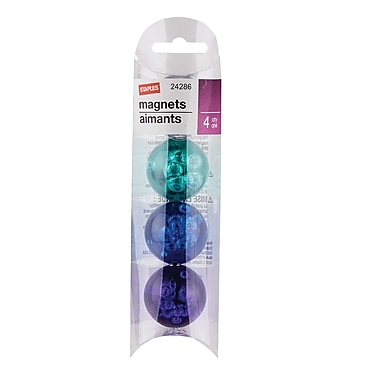 Staples® Magnets, Sphere or Cube, Assorted Colours, 4/Pack