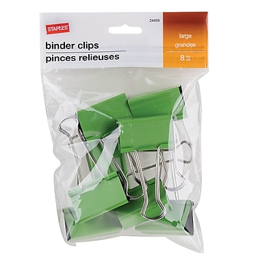 StaplesMD – Pinces relieuses, grandes, 2 po, vert, 8/pqt