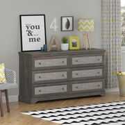 Altra Stone River 6 Drawer Dresser with Fabric Inserts, Dark Gray Oak