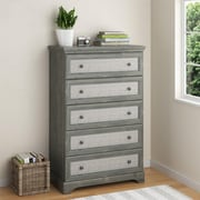 Altra Stone River 5 Drawer Dresser with Fabric Inserts, Dark Gray Oak