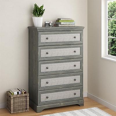 Altra Stone River 5 Drawer Dresser with Fabric Inserts, Dark Gray Oak