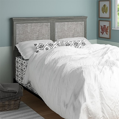 Altra Stone River Full/Queen Headboard with Fabric Inserts, Dark Gray Oak
