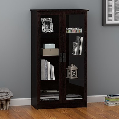 Ameriwood Home Quinton Point Bookcase with Glass Doors, Espresso