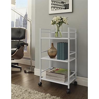 Altra Marshall 3 Shelf Metal Rolling Utility Cart, White