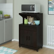 Reggie Microwave Cart with Shelf, Espresso