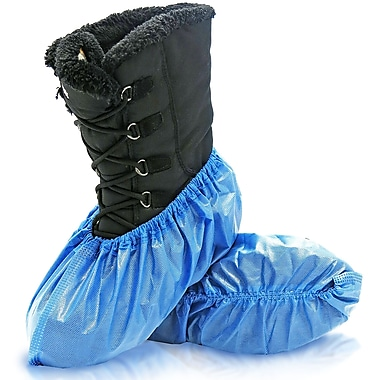 BlueMed Azure Shoe Covers, Waterproof and Anti-Skid, Universal, in Bags, Sky Blue, 400/Case