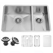 Vigo Alma 29 inch Undermount 75/25 Double Bowl 16 Gauge Stainless Steel Kitchen Sink; Yes