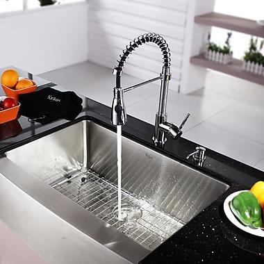 Kraus Kitchen Combos 30'' x 20'' Single Basin Farmhouse/Apron Kitchen Sink w/ Faucet and Dispenser