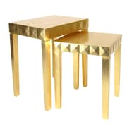 Wayborn 2 Piece Nesting Table Set; Gold Leaf