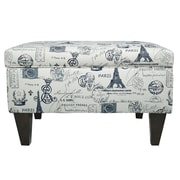 MJLFurniture Brooklyn Square Legged Storage Ottoman