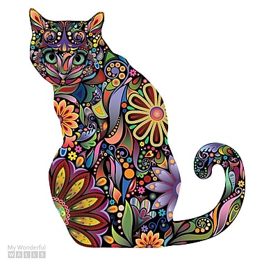 My Wonderful Walls Sitting Cat Left Facing Sticker Wall Decal; Large