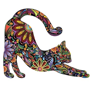My Wonderful Walls Stretching Cat Right Facing Sticker Wall Decal; Small