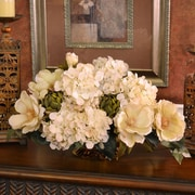 Floral Home Decor Magnolia and Hydrangea Silk Floral Centerpiece