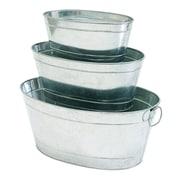 ACHLA Petite Potager 3-Piece Galvanized Aluminum Pot Planter Set