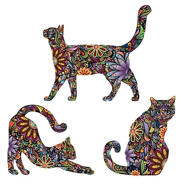 My Wonderful Walls 3 Piece Repositionable Cat Sticker Wall Decal Set; Extra Large