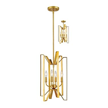 Z-Lite Marsala 4-Light Foyer Pendant; Polished Metallic Gold