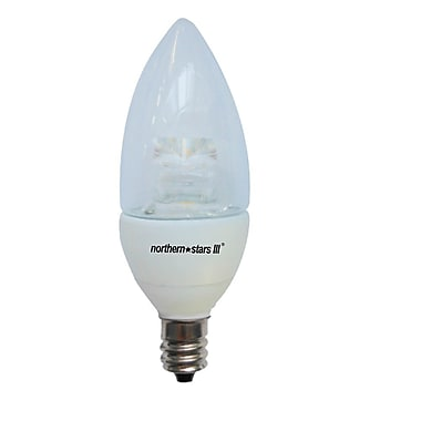 Northern Stars 80038 LED Light Bulb, Candelabra B10 5W, Dimmable, Clear, White, 2/Pack