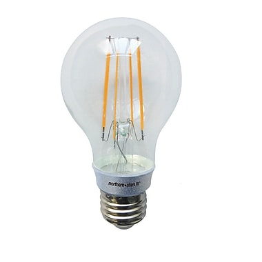 Northern Stars 84407 LED Light Bulb, A19 6W, Filament, Dimmable, Clear, Silver, 2/Pack