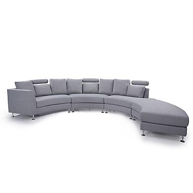 Beliani – Canapé circulaire ROTUNDE, pouf, 7 places, revêtement en tissu, gris pâle