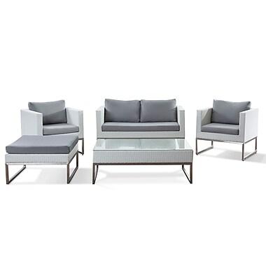 Beliani – Ensemble de salon CREMA en poly rotin blanc , mobilier de jardin moderne