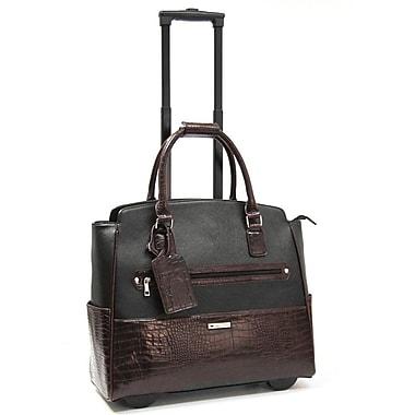 Cabrelli & Co. – Sac pour ordinateur portatif Darcey Duplex, à roulettes, 15 po, noir/brun