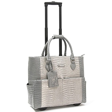 Cabrelli & Co. – Sac pour ordinateur portatif Pilar Croco, à roulettes, 15 po, gris