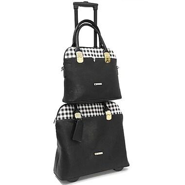 Cabrelli & Co. – Ensemble sac pour ordinateur portatif à roulettes de 15 po et fourre-tout pour le travail Casey Checker, noir