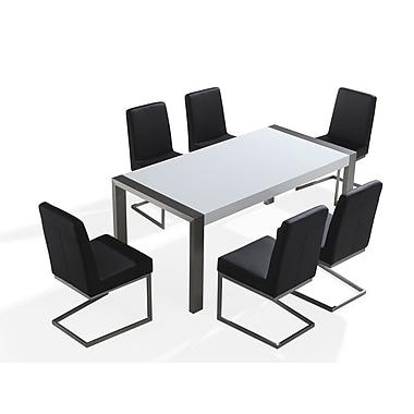 Beliani – Table à manger ARCTIC, 71 po, acier inoxydable, blanc brillant