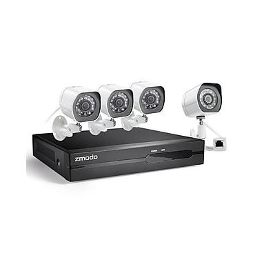 Zmodo – Système de sécurité CA-SS87DAB4-S 1080p 4 canaux sPoE NVR avec 4 caméras HD, sans disque dur