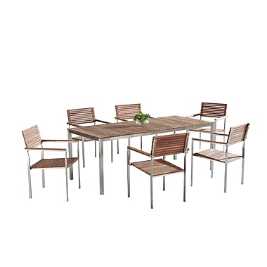 Velago VITALE Modern Outdoor Dining Set for 6, Teak & Stainless Steel (5121)