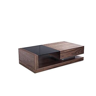 Beliani – Table à café PORTO, un tiroir, dessus en verre trempé noir, 130 x 70 cm, noyer