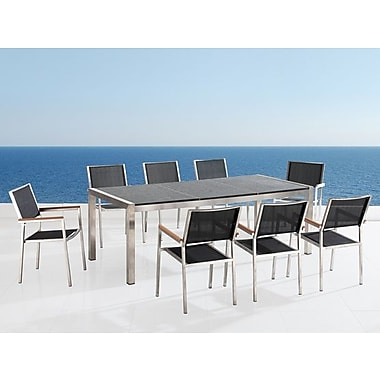 Beliani – Table de patio, GROSSETO, 87 po, acier inoxydable et granit
