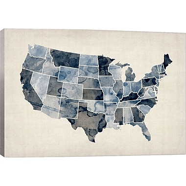 iCanvas 'Water Color Map III' by Michael Tompsett Graphic Art on Canvas; 12'' H x 18'' W x 1.5'' D
