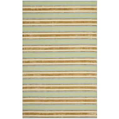Isaac Mizrahi Orange / Green Striped Rug; Runner 2'3'' x 8'